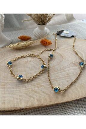Dorika Accessories Kadın Gold Nazar Boncuklu Kolye ve Bileklik