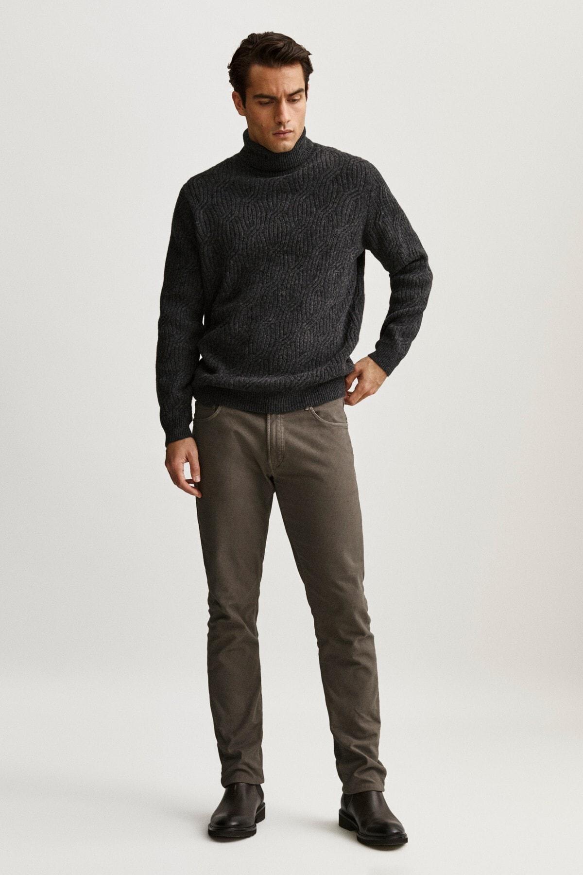 Massimo Dutti Erkek Slim Fit Dokulu Denim Görünümlü Pantolon 00044044