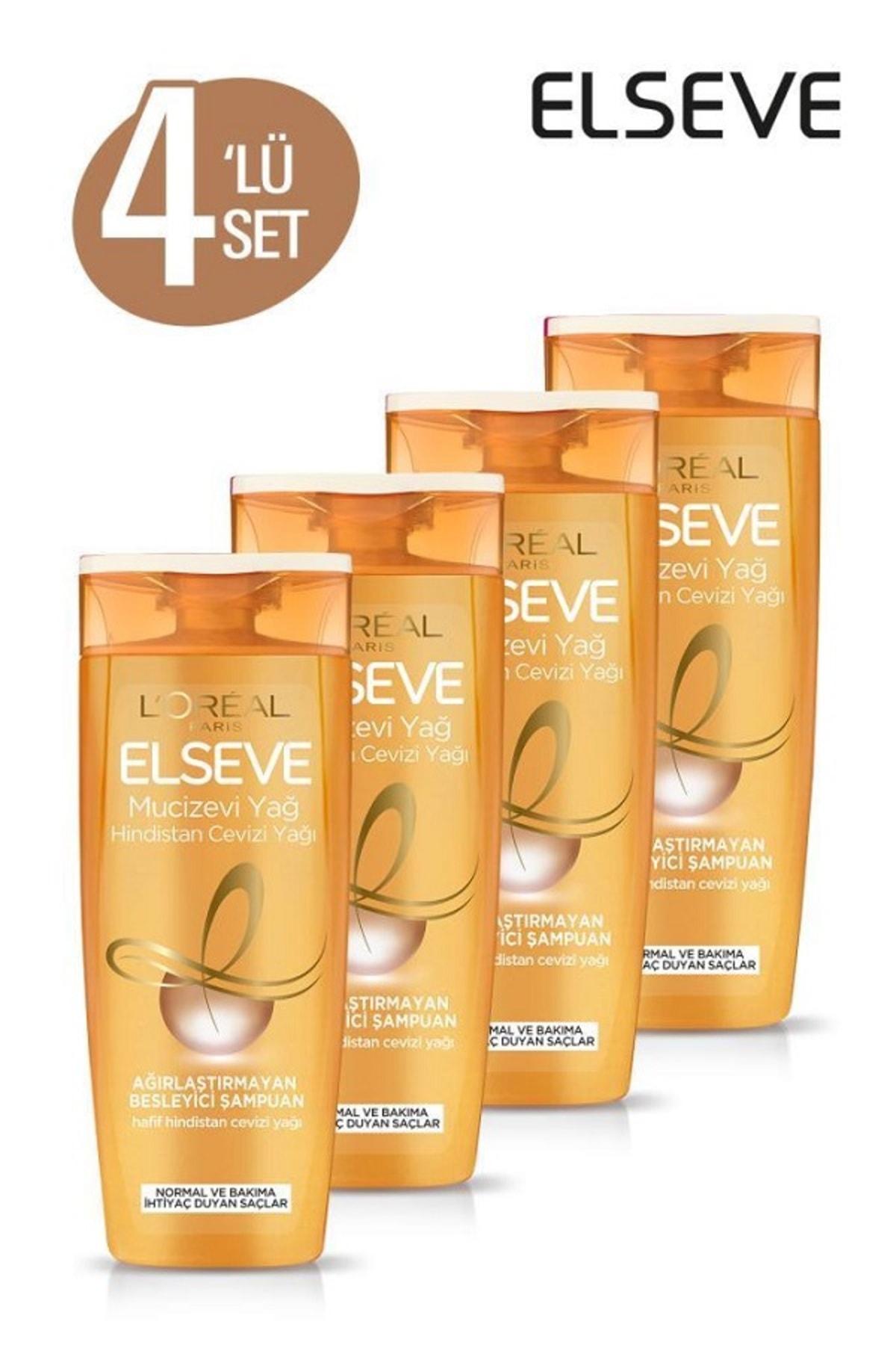 ELSEVE 4'lü Mucizevi Hindistan Cevizi Yağı Ağırlaştırmayan Besleyici Şampuan 360 ml Seti  36005237558134 1