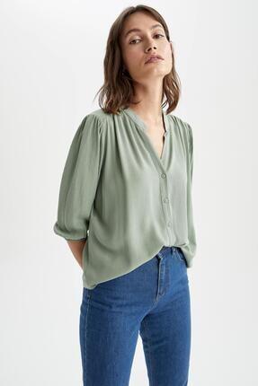 DeFacto Kadın Yeşil V Yakapile Detaylı Yarım Kollu Bluz