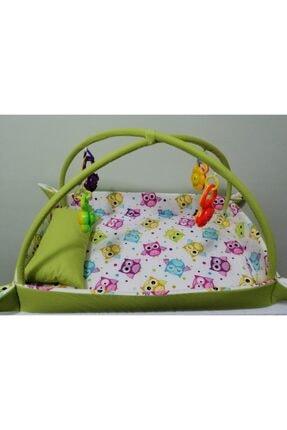 Rosemilla Yeşil Beyaz Baykuş Desenli %100 Pamuklu Bebek Oyun Halısı Ve Aktivite Alanı