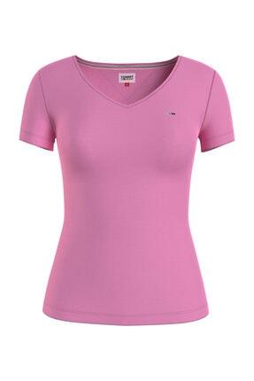 Tommy Hilfiger Kadın Pembe T-Shirt TJW SLIM JERSEY V NECK DW0DW09195