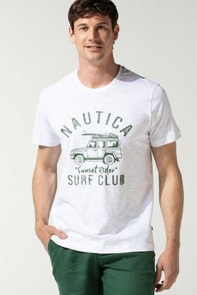 Nautica Erkek Beyaz Baskılı T-Shirt V04105T