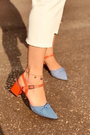 haykmar Kadın Mila Turuncu Mat Mavi Ekose Topuklu Ayakkabı
