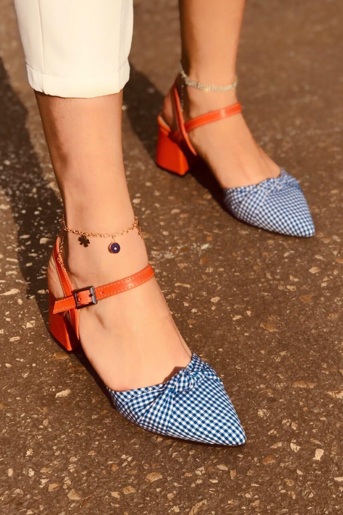 haykmar Kadın Mila Turuncu Mat Mavi Ekose Topuklu Ayakkabı 2