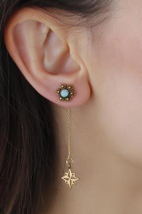 MadameConcept Kadın Mavi Çiçek Figür Kuzey Yıldızlı Gümüş Kaplama Otantik Küpe