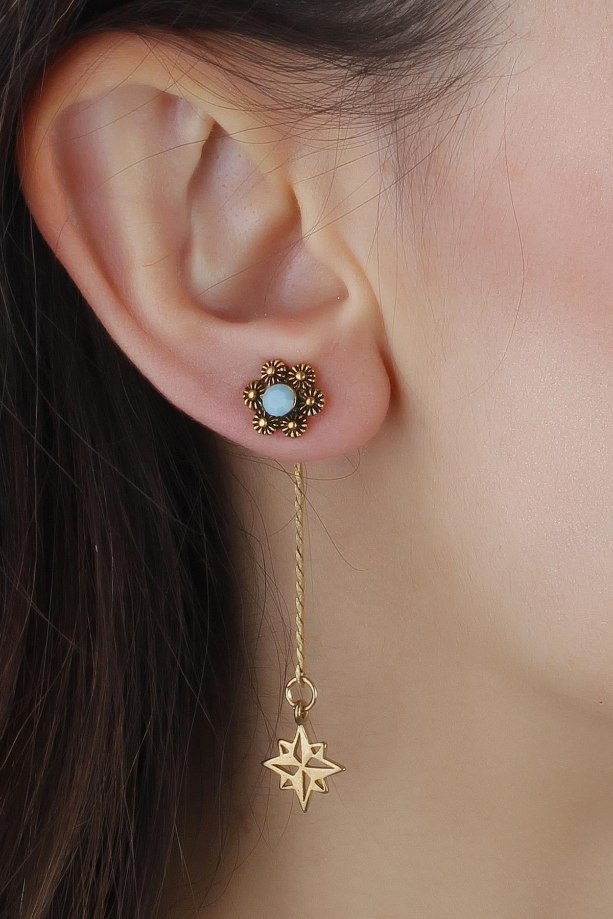 MadameConcept Kadın Mavi Çiçek Figür Kuzey Yıldızlı Gümüş Kaplama Otantik Küpe 1