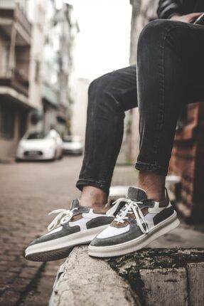 No99istanbul.tr Erkek Gri Süet Içi Dışı Dana Derisi Ön Kısım File Detaylı Kauçuk Taban Ayakkabı