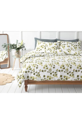 English Home Summer Ivy Krep Çift Kişilik Nevresım Takımı 200x220 Cm Yeşil