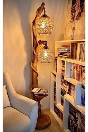 OzdenWoodHome Kahverengi Çift Küre Doğal Ağaç Yalıkavak Serisi Aydınlatma Lambader 140 cm