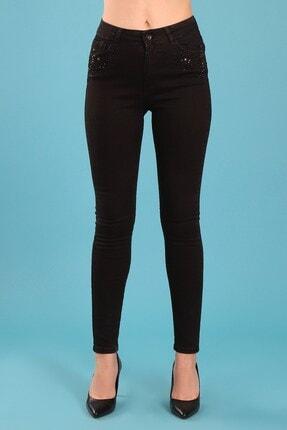 Arlin Kadın Taş Işleme Detaylı Yüksek Bel Dar Paça Slim Fit Siyah Jean Pantolon
