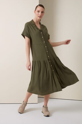 Gusto Keten Gömlek Elbise - Haki