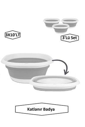 İntekcity Katlanır Badya Leğen Akordiyon Katlanabilir Badya 3'lü Set (3x10'lt)
