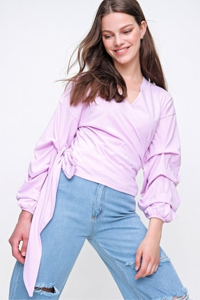 Trend Alaçatı Stili Kadın Lila Kat Kat Balol Kollu Kruvaze Bağlamalı Bluz ALC-019-059-001