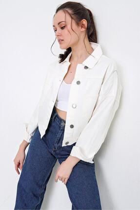 PinkPark Butik Dinamik Kadın Beyaz Çift Cep Jean Ceket Df00007