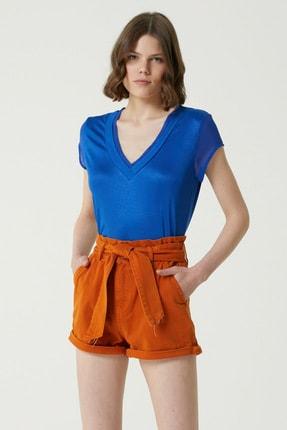 Network Kadın Saks V Yaka T-shirt 1078479
