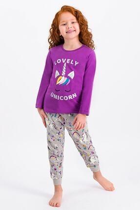 ROLY POLY Kız Çocuk Menekşe Lovely Unicorn Pijama Takımı