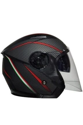 VENOM Jk-512 Yarım Yazlık Motosiklet Kaskı Güneş Vizörlü Karbon Desen