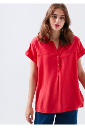 Mavi Keten Karışımlı Kırmızı Bluz