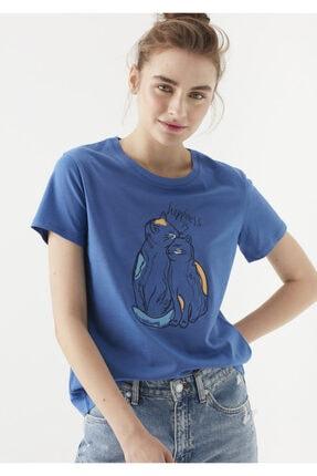 Mavi Kedi Baskılı Lacivert Tişört
