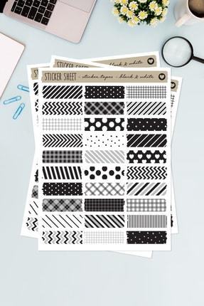 Funbou Şekilli Sticker Bant, Black-white / 2 Sayfa