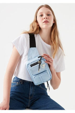 Mavi Kadın Cep Detaylı Bel Çantası