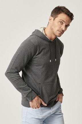 AC&Co / Altınyıldız Classics Erkek Antrasit Slim Fit Günlük Rahat Kanguru Cepli Spor Sweatshirt