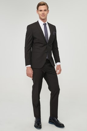 ALTINYILDIZ CLASSICS ERKEK Kahverengi-Lacivert Ekstra Slim Fit Su Geçirmez Nano Takım Elbise