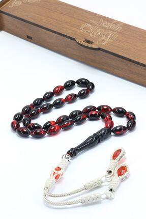 Tesbih Otağı Erkek Kırmızı Siyah Ateş Kehribar Tesbih T100271