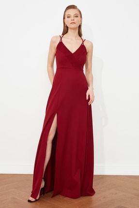 TRENDYOLMİLLA Bordo Nervür Detaylı Abiye & Mezuniyet Elbisesi TPRSS20AE0050