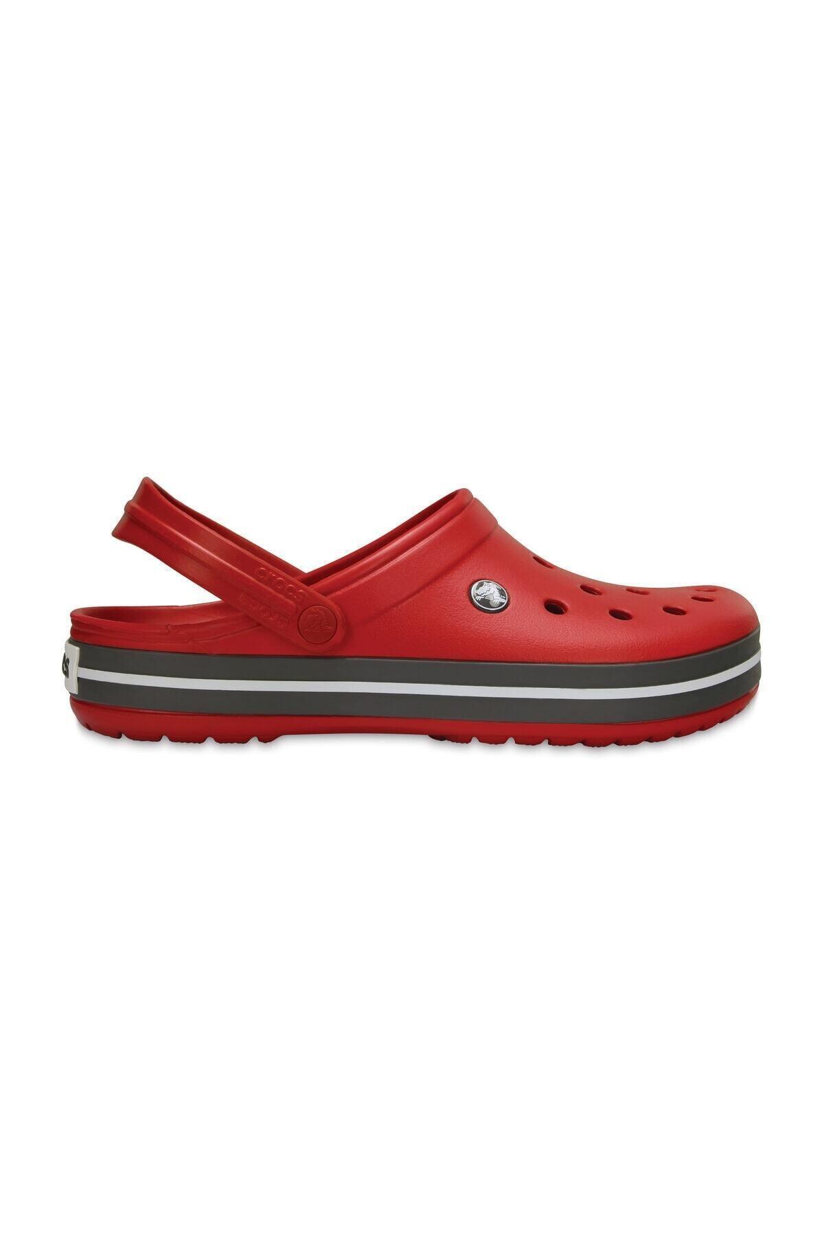 Crocs Kırmızı Unisex Crocband Kenarı Siyah Çizgili Terlik 1