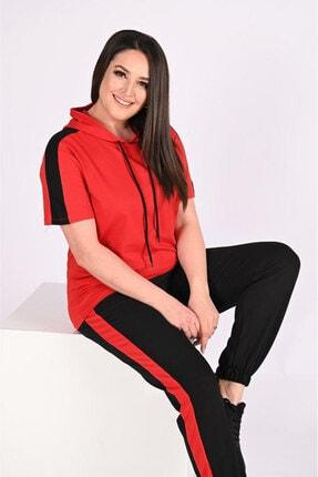 Heves Giyim Kadın Kırmızı Büyük Beden  Kapüşonlu Eşofman Takımı