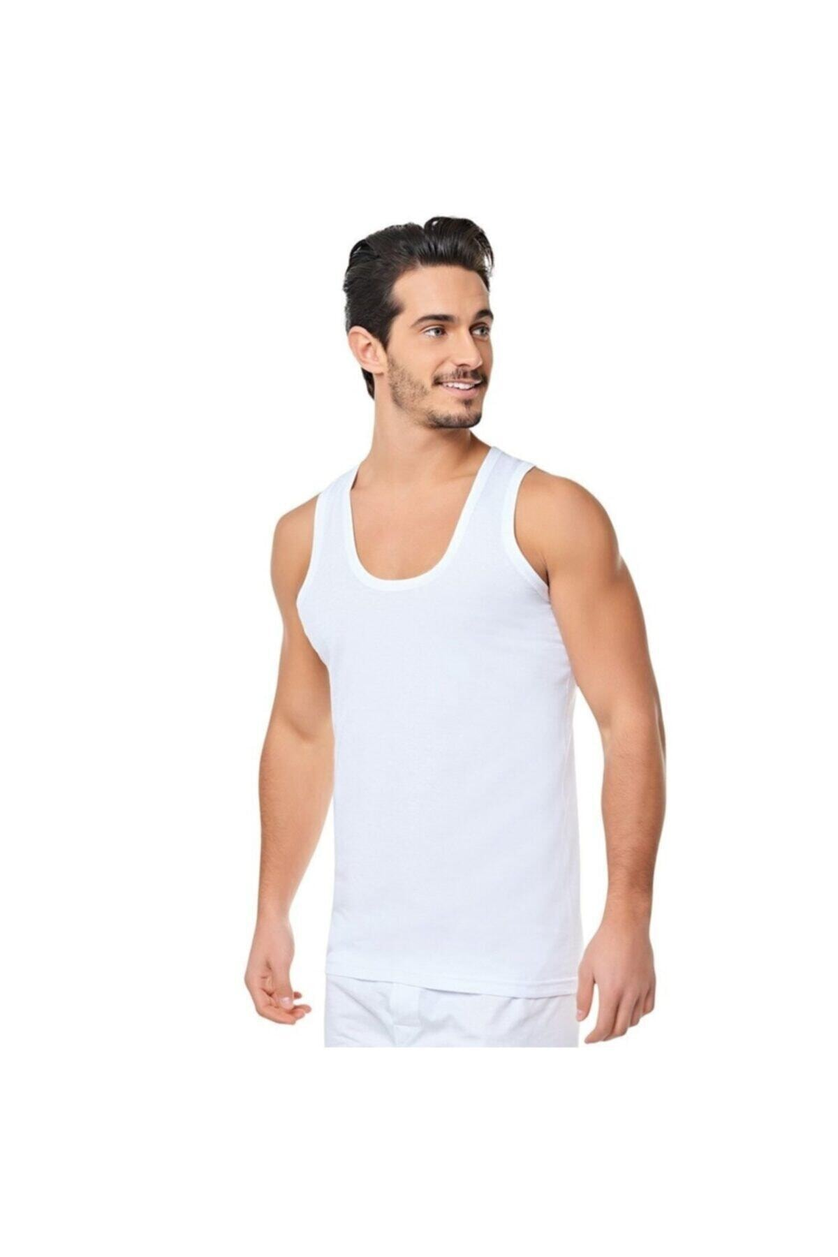 Seher Erkek %100 Pamuk Penye Atlet Beyaz 6'lı Klasik 1
