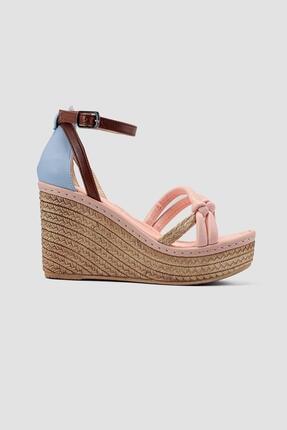 Limoya Hasir Detayli Yüksek Dolgu Topuklu Sandalet