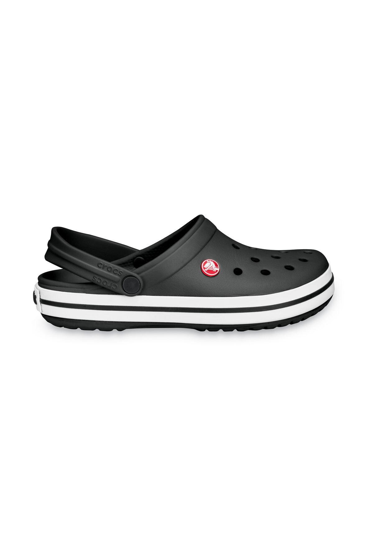 Crocs Siyah Unisex Crocband Kenarı Siyah Beyaz Çizgili Terlik 1