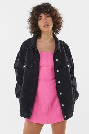 Bershka Kadın Siyah Denim Ceket