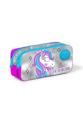 Coral High Kids Pembe Gümüş Simli Kumaşlı Unicornlu Iki Bölmeli Kalem Çantası 22291