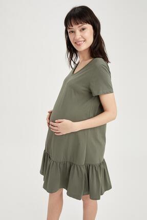 DeFacto Kadın Haki V Yaka Büzgülü Hamile Elbise