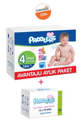 Paddlers Bebek Bezi 4 Numara 144 Adet (8-19 Kg) + 12x70 Islak Havlu