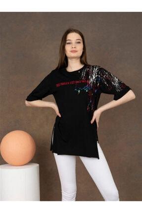 Gisam Tekstil Kadın Siyah Baskılı Tshirt