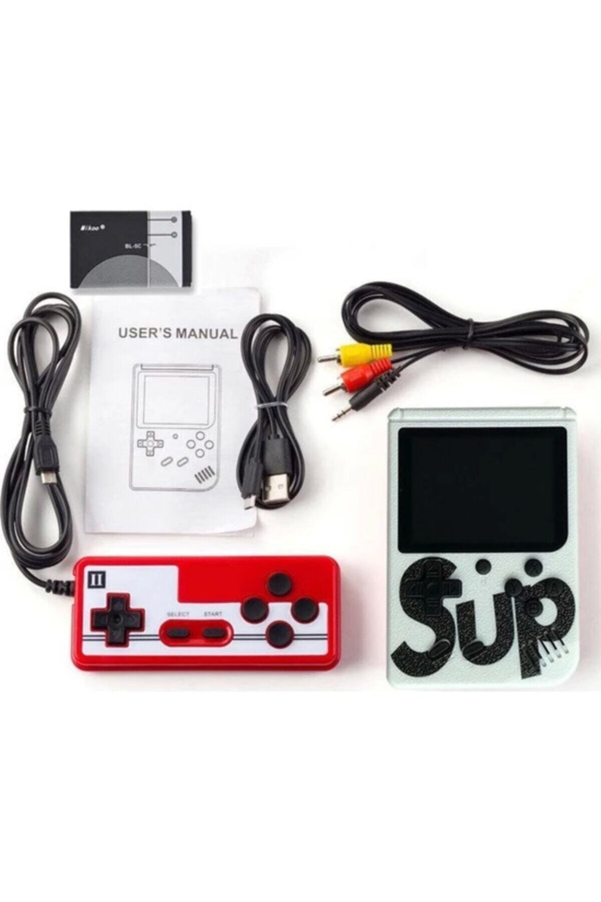 """Retro Sup Taşınabilir Video Oyun Konsolu 3"""" 400 Oyunlu Mini Atari Gameboy 2 Oyunculu Beyaz 1"""