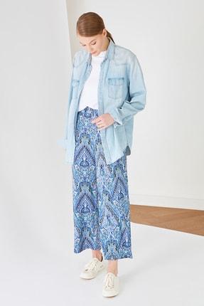 Trendyol Modest Mavi Baskılı Wide Leg Lastik Belli Pantolon TCTSS21PL0627