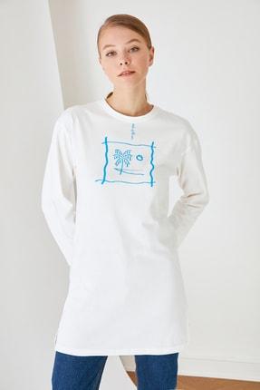 Trendyol Modest Beyaz Baskılı Tunik T-shirt TCTSS21TN0217