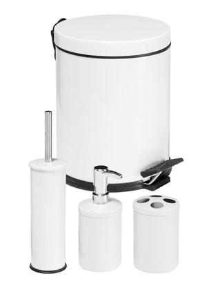 Foreca 4 Lü Çöp Kovası Banyo Seti Beyaz
