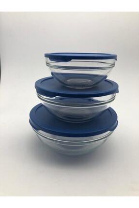 Paşabahçe Cam Chefs 3 Lü Kase Saklama Kabı Mavi Kapak