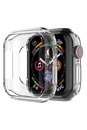 Apple Microsonic Watch Series 5 44mm Kılıf 360 Full Round Soft Silicone Şeffaf