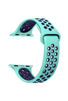 Apple Microsonic Watch Series 1 42mm Rainbow Sport Band Kordon Nil Yeşili Uyumlu