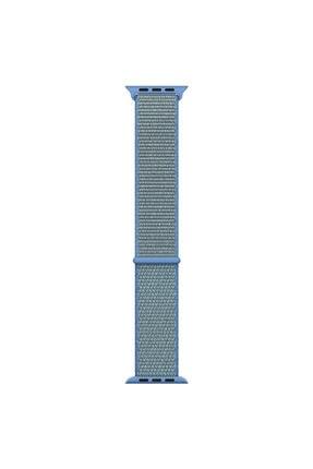 Apple Microsonic Watch Series 3 38mm Uyumlu Hasırlı Kordon Woven Sport Loop Tahoe Blue