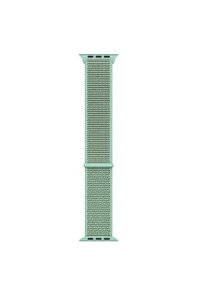 Apple Microsonic Watch Se Uyumlu 40mm Hasırlı Kordon Woven Sport Loop Yeşil