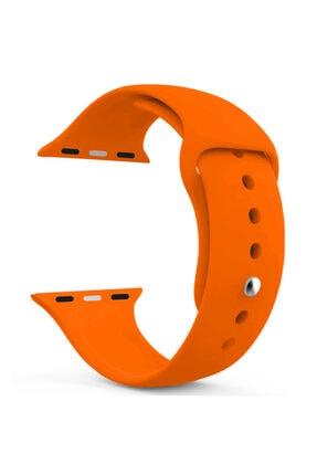 Apple Microsonic Watch Series 5 44mm Silikon Kordon Turuncu Uyumlu